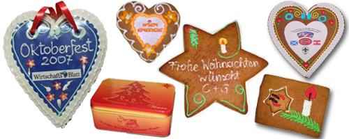 Sonderfertigungen aus Lebkuchen eigenes Logo und Verzierung