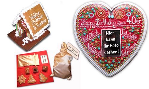 Foto Lebkuchenherz, Lebkuchenhaus mit Firmenlogo